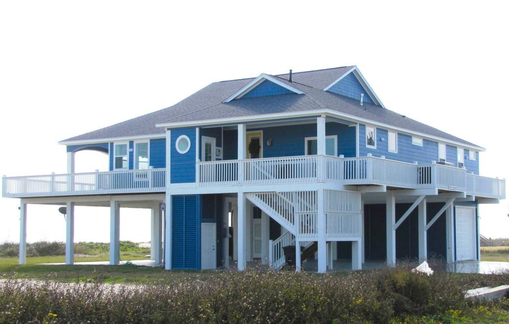 Blue house by the beach