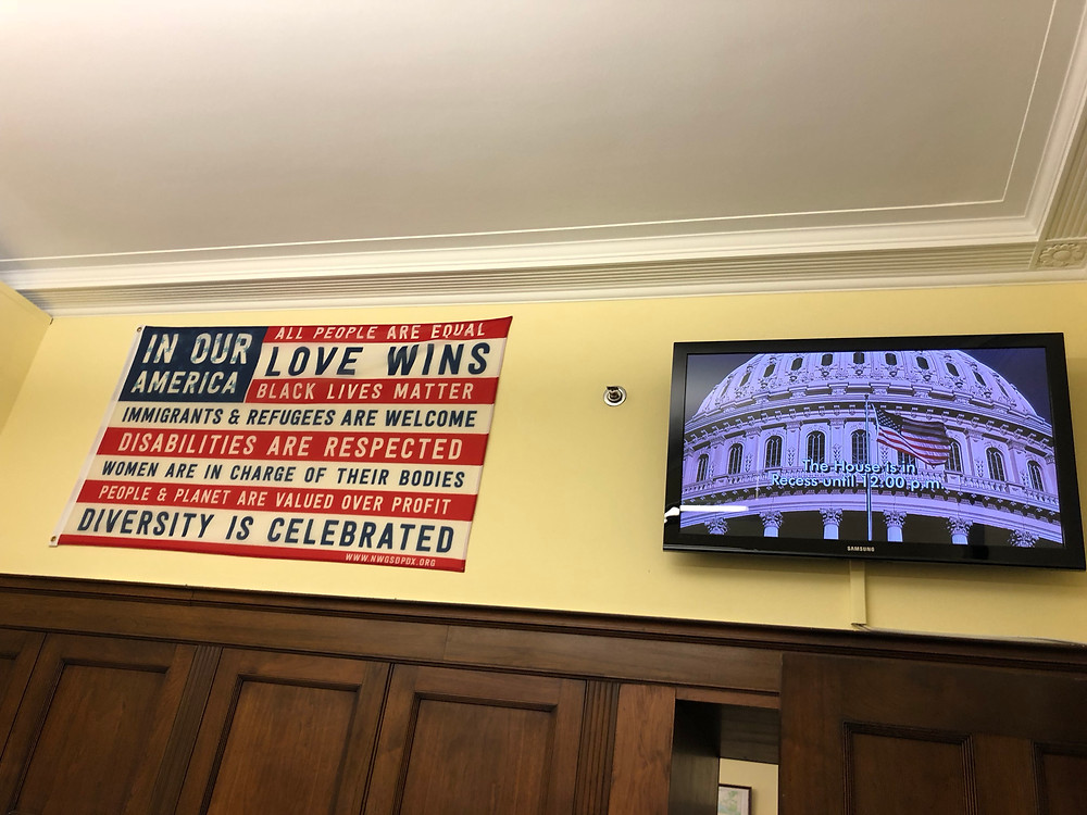 "The ""In Our America"" flag in Congressman Blumenauer's office"