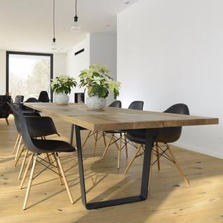 BLACK STEEL & WOODEN TABLE