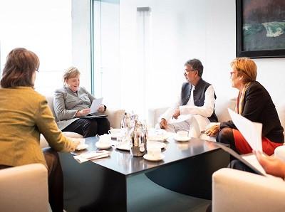 Nobel Peace Laureate Mr. Kailash Satyarthi met Chancellor of Germany, Ms. Angela Merkel