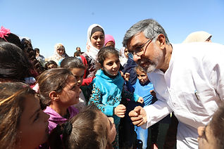 Kailash Satyarthi with children at Zaata