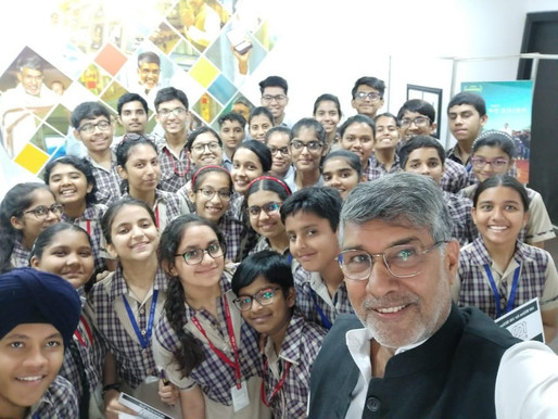 School children have a date with the Nobel Peace Laureate