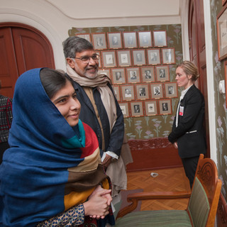 Nobel Peace Laureates Malala and Mr. satyarthi at the Nobel Gallery