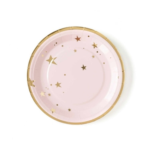 """Baby Pink Star 9"""" Plates"""