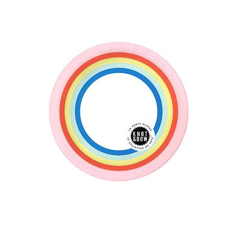 Retro Rainbow Dessert Plates