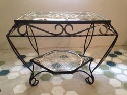 Table en fer et verre