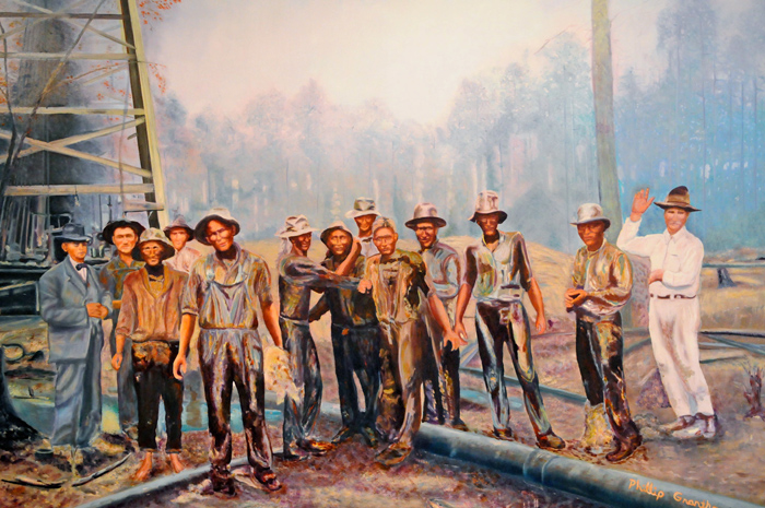 Workers in the oil field