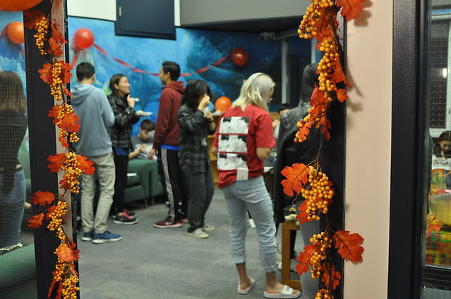 A decorated doorframe for the IRC Thanksgiving feast