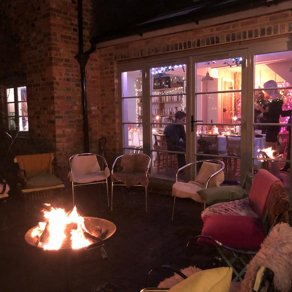 bonfire in the yard