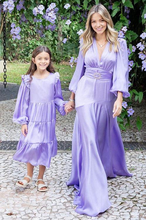Vestido Cetim Bárbara Kids Lilás
