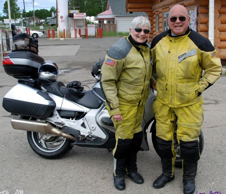Pat and Len on a motorcycle trip to British Columbia