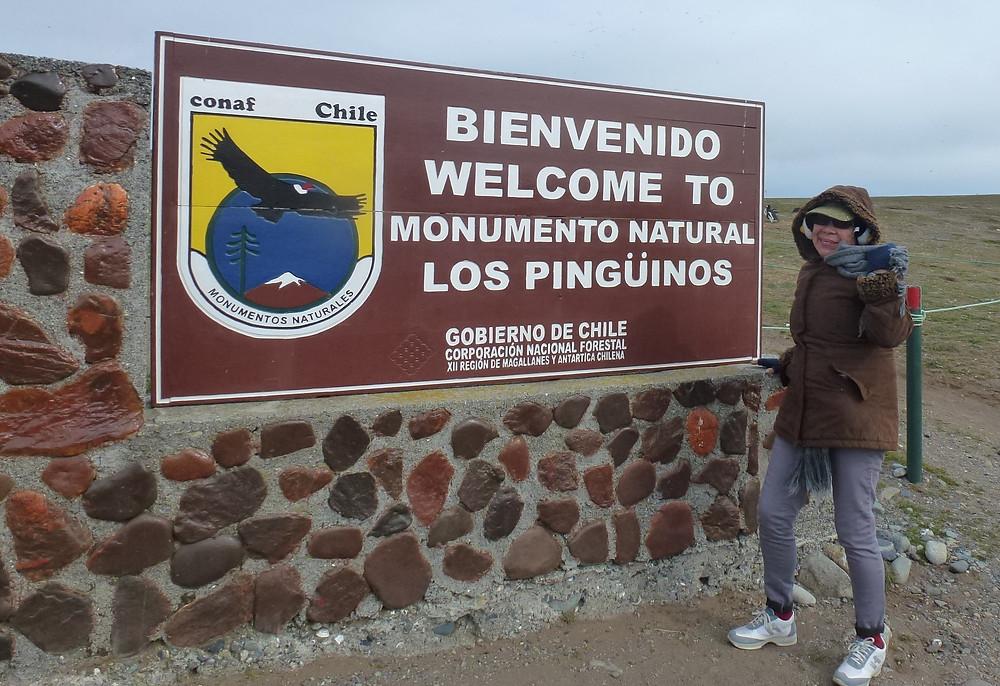 Los Pinguinos natural monument sign
