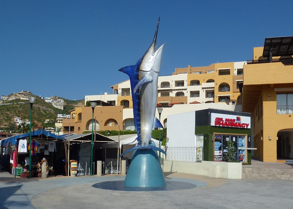 Cabo San Lucas harbor marlin statue