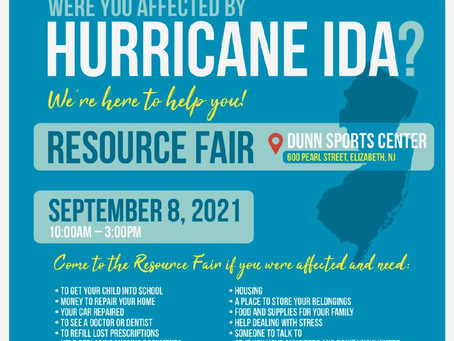 Resource Fair for those Affected by Hurricane Ida: Wednesday, Sept. 8