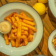 Beer Battered Chips with Chipotle Salt and Aioli