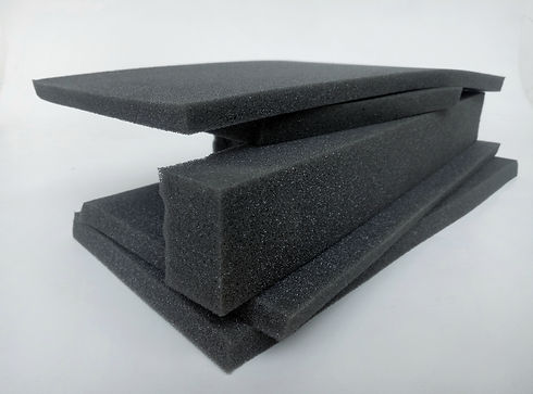 thin sponge foam pieces and bars. A stac