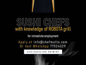 LOOKING FOR EXPERIENCED SUSHI CHEFS