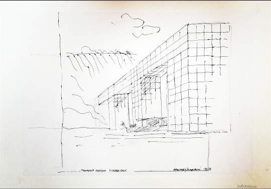 Superstudio, Monumento Continuo Niagara Falls. 1971-73. China e matita su carta vegetale applicata su cartoncino cm. 30x42.
