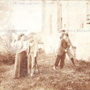 """Bologna countryside, Tableaux Vivant """" Odi Vecchi, Amori Nuovi"""", 26 maggio 1897. Albumen print on cardboard cm. 25x17. Unknown photographer."""
