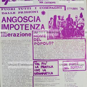 A/traverso, Giornale dell'Autonomia, ottobre '76 supplento a Rosso. Foglio Creativo, printed in violet/ magenta ink, cm. 44x31.