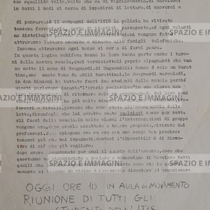 LOTTA CONTINUA. STUDENTI DELL'ITIS, NEL SECONDO QUADRIMESTRE TUTTO L'APPARATO REPRESSIVO BORGHESE SI E' MESSO IN MOTO (...). Volantino ciclostilato cm. 22x33 a cura di studenti di Lotta Continua. C.I.P. via Quadri 5/b, aut. trib. Torino 102042. Suppl. L.C. Direttore Responsabile Pier Paolo Pasolini. S.l. e s.d. ma Bologna 1971.