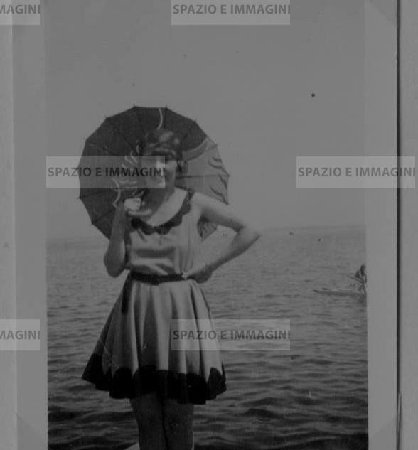 Swimwear, July 1930. Original vintage print. Gelatin silver print on baryta paper cm. 4,5x 6,5. Found photo.