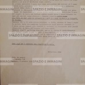 ALCUNI GIORNI FA SONO STATI EMESSI I MANDATI DI CATTURA PER 6 COMPAGNI DELL'ITIS (...). Volantino ciclostilato cm. 22x33 a cura di Collettivo Itis. C.I.P. via Quadri 5/b, Bologna,6-11-1972.