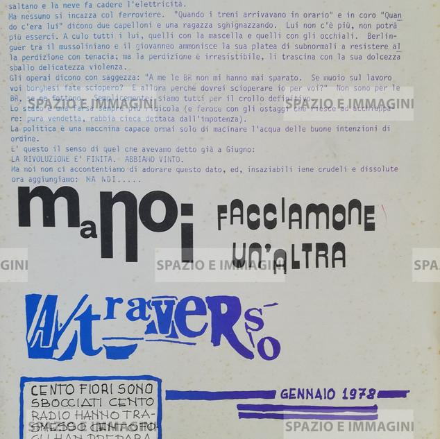 A/traverso, La Funzione Trasversale, Gennaio 1978. Supplemento l'Erba Voglio numero 29-30. Foglio Creativo, printed in various colours, cm. 23x34  pp.20.