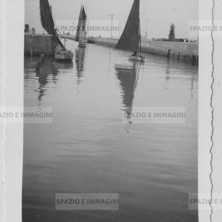 Sailing boats in Trieste. Original vintage print, Foto Italia Gorizia, 30s. Gelatin silver print on baryta paper cm. 9x6. Found photo.