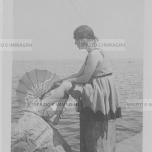 Swimwear, 28 th August 1930. Original vintage print. Gelatin silver print on baryta paper cm. 6,5x 4,5. Found photo.