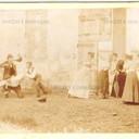 """Bologna countryside,Tableaux Vivant """"Lasciateli fare! due di meno"""", 16 maggio 1897. Albumen print on cardboard cm. 25x17. Unknown photographer."""