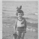 Baby girl at the sea, Riccione, 1926. Original vintage print. Gelatin silver print on baryta paper cm. 13,5x 8. Found photo