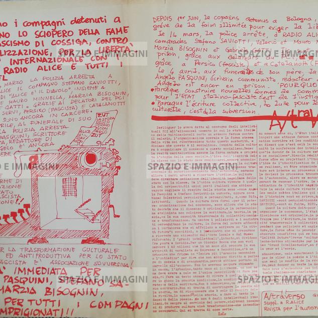 A/traverso, Libertà per Radio Alice, giugno 1977. Supplemento Radio Alice. Foglio Creativo, printed in red ink, cm. 31x 45.