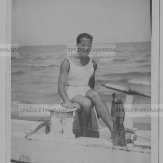 Man at the sea. Original vintage print, 1926. Gelatin silver print on baryta paper cm.  9x14. Found photo.