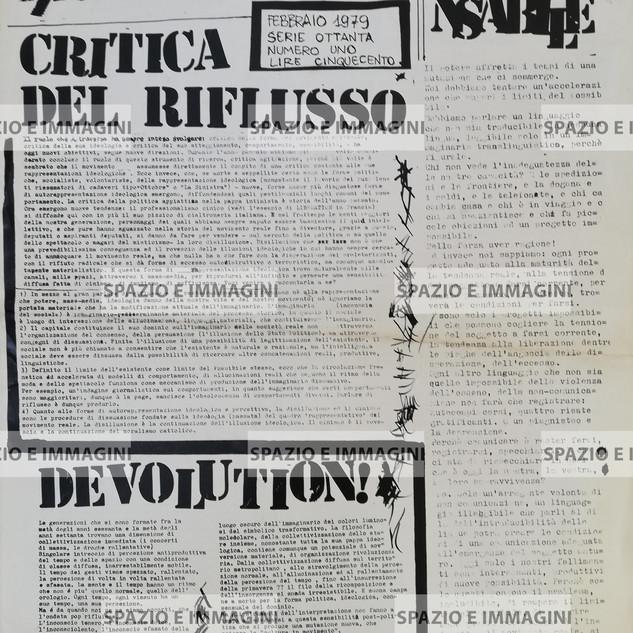 A/traverso, febbraio 1979, serie ottanta, numero uno. Foglio Creativo printed in black ink, cm. 32x43. pp. 8.