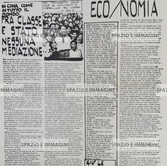 A/traverso, Giornale per l'Autonomia, Dicembre 1976. Supplemento al quotidiano radiodiffuso R. Alice. Foglio Creativo, printed in black and red ink, cm. 31x44, pp. 8.