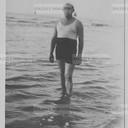 Man at the sea, adriatic sea. Original vintage print by Alberto Galvani, 40s. Gelatin silver print on baryta paper cm. 8,5x 13,5.