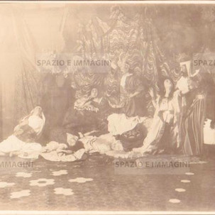 Bologna countryside, Tableaux Vivant, undated but presumibly 1897. Albumen print on cardboard cm. 25x17. Unknown photographer.
