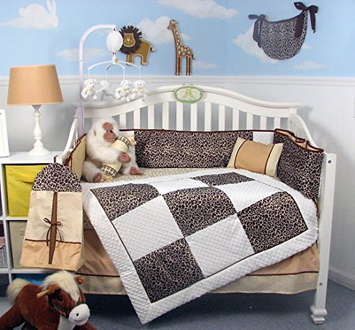 Crib Bedding Set, Giraffe Minky Chenille, Brown