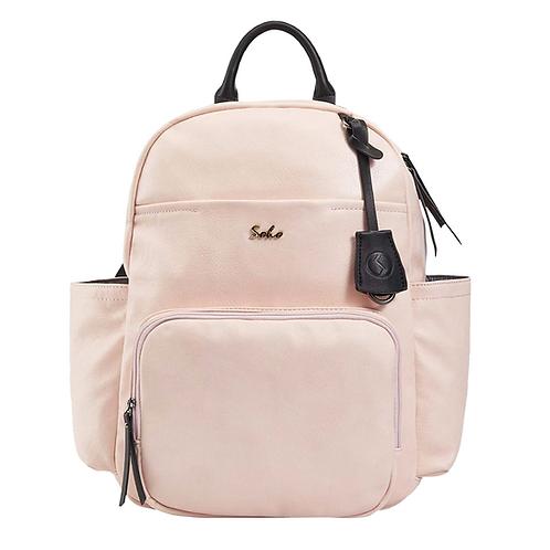 Jackson Vegan Leather Diaper Bag Backpack, Pink