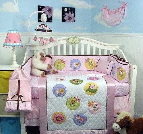 Crib Bedding Set, Happy Secret Garden, Pink
