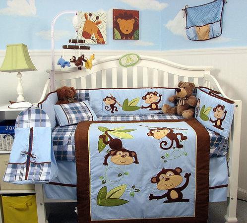 Crib Bedding Set, Playful Monkey, Blue