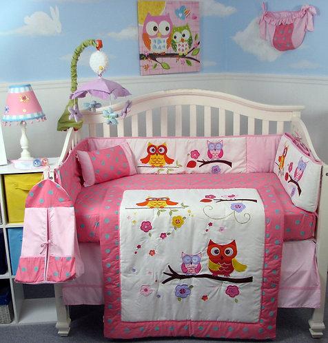 Crib Bedding Set, Midnight Lullaby Owls, Pink