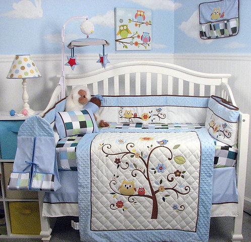 Crib Bedding Set, Blue Cherry Tree