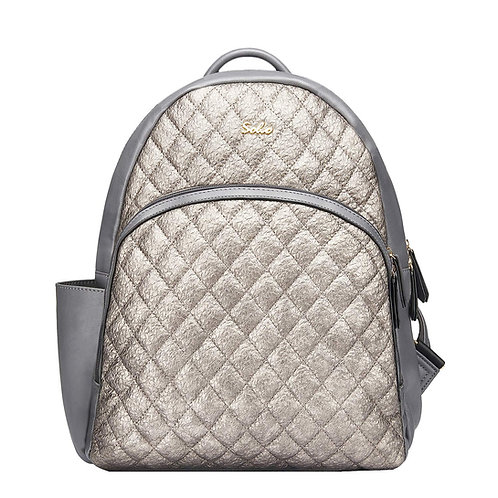 Boise Vegan Leather Diaper Bag Backpack, Silver Lux