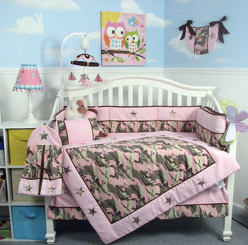 Crib Bedding Set, Pink Camouflage Army