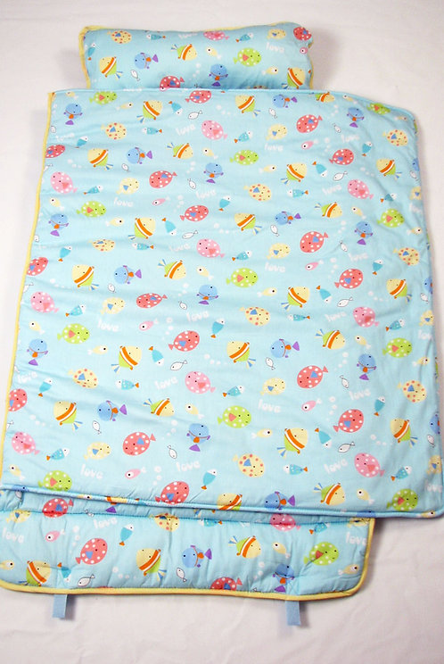 Extra Roomy Nap Mat, Blue Fish