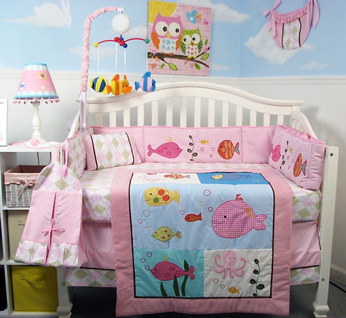 Crib Bedding Set, Pink Gold Fish
