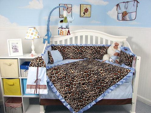 Crib Bedding Set, Giraffe Minky, Soft Blue
