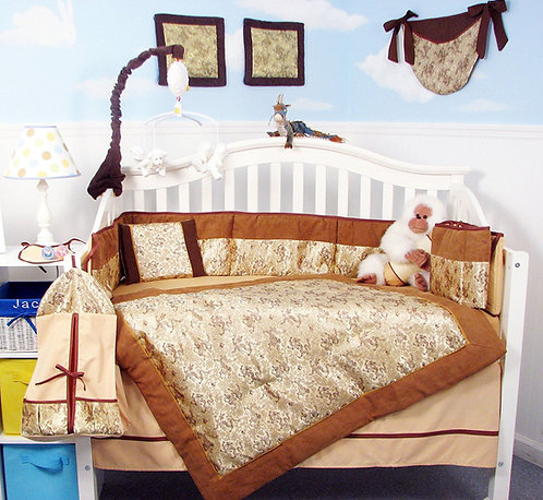 Crib Bedding Set, Golden Dragons, Silky